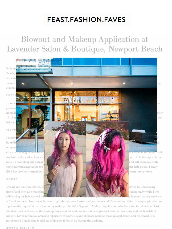 Feast Fashion Faves spotlights Lavender Salon & Boutique Newport Beach for blowout and makeup application